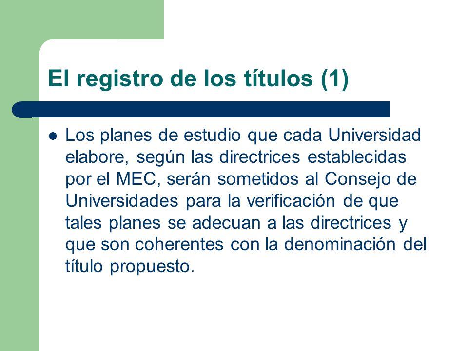 El registro de los títulos (1) Los planes de estudio que cada Universidad elabore, según las directrices establecidas por el MEC, serán sometidos al C