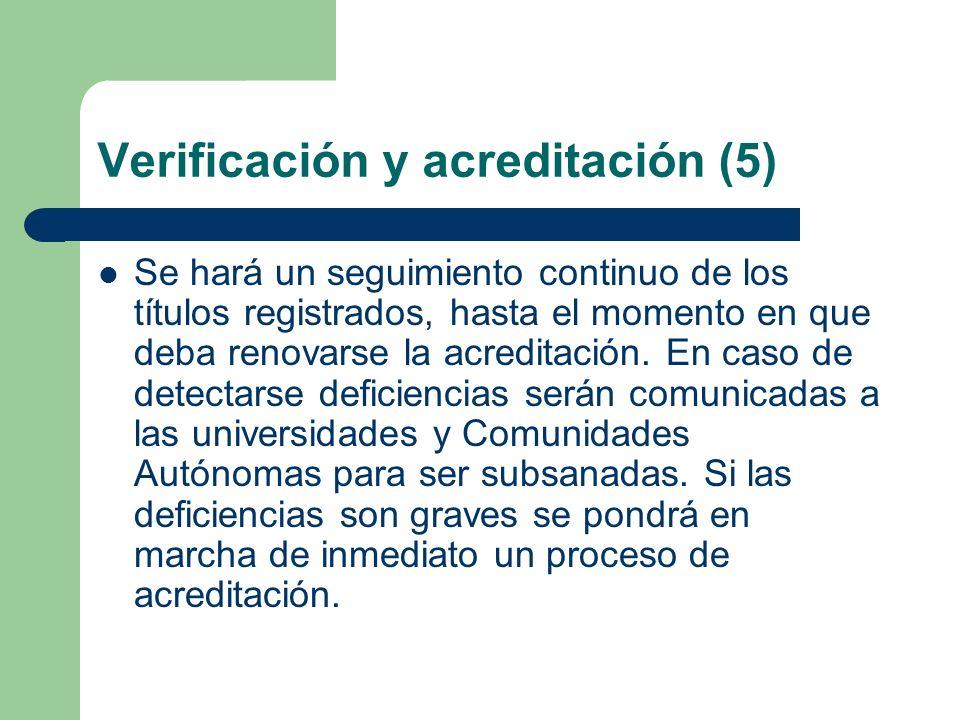 Verificación y acreditación (5) Se hará un seguimiento continuo de los títulos registrados, hasta el momento en que deba renovarse la acreditación. En