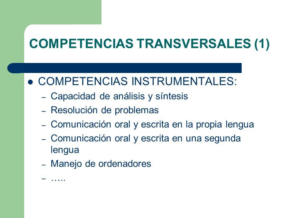 COMPETENCIAS TRANSVERSALES (1) COMPETENCIAS INSTRUMENTALES: – Capacidad de análisis y síntesis – Resolución de problemas – Comunicación oral y escrita