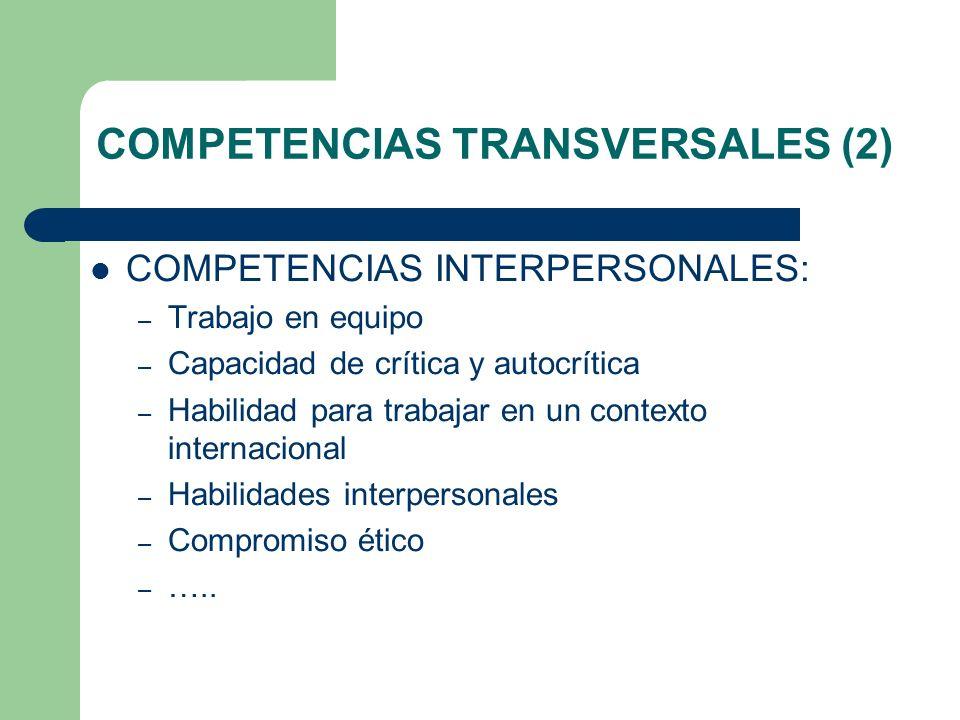 COMPETENCIAS TRANSVERSALES (2) COMPETENCIAS INTERPERSONALES: – Trabajo en equipo – Capacidad de crítica y autocrítica – Habilidad para trabajar en un