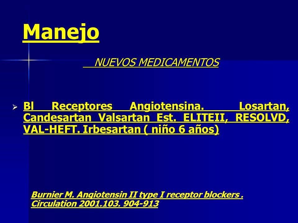 NUEVOS MEDICAMENTOS Bl Receptores Angiotensina. Losartan, Candesartan Valsartan Est. ELITEII, RESOLVD, VAL-HEFT. Irbesartan ( niño 6 años) Bl Receptor
