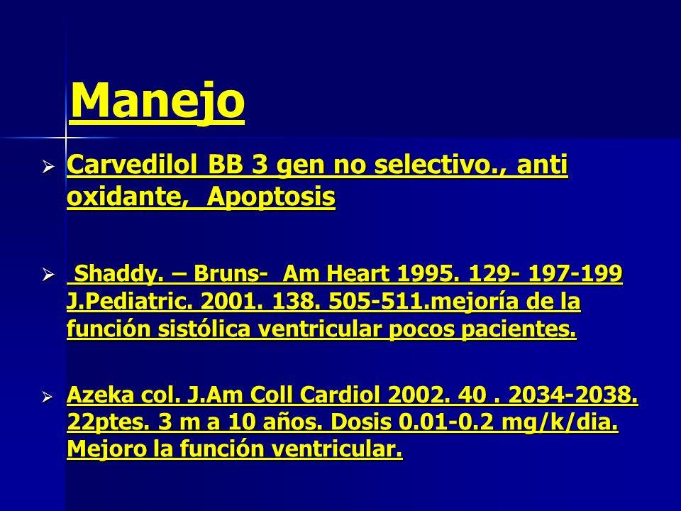 Carvedilol BB 3 gen no selectivo., anti oxidante, Apoptosis Carvedilol BB 3 gen no selectivo., anti oxidante, Apoptosis Shaddy. – Bruns- Am Heart 1995