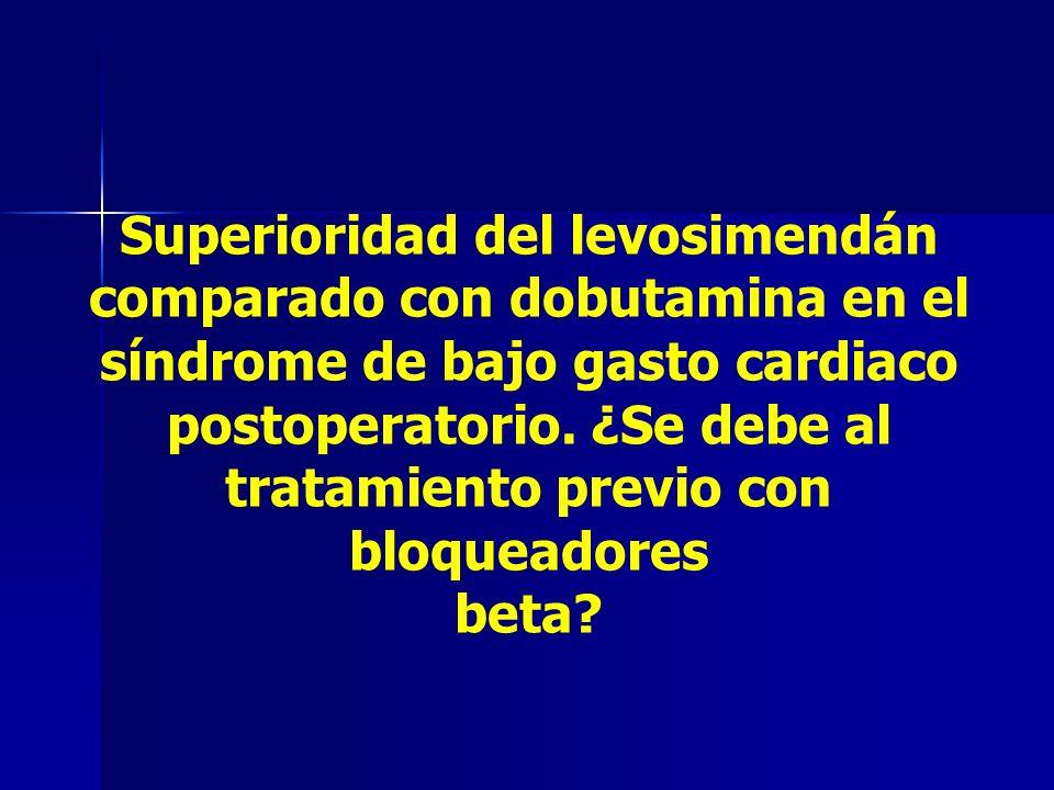 Superioridad del levosimendán comparado con dobutamina en el síndrome de bajo gasto cardiaco postoperatorio. ¿Se debe al tratamiento previo con bloque