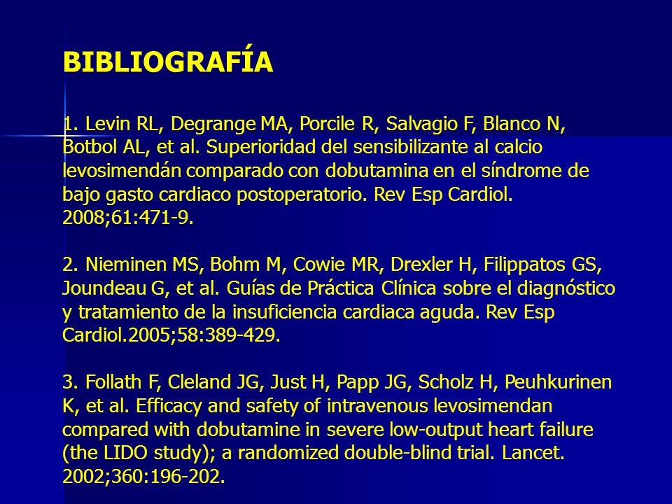 BIBLIOGRAFÍA 1. Levin RL, Degrange MA, Porcile R, Salvagio F, Blanco N, Botbol AL, et al. Superioridad del sensibilizante al calcio levosimendán compa