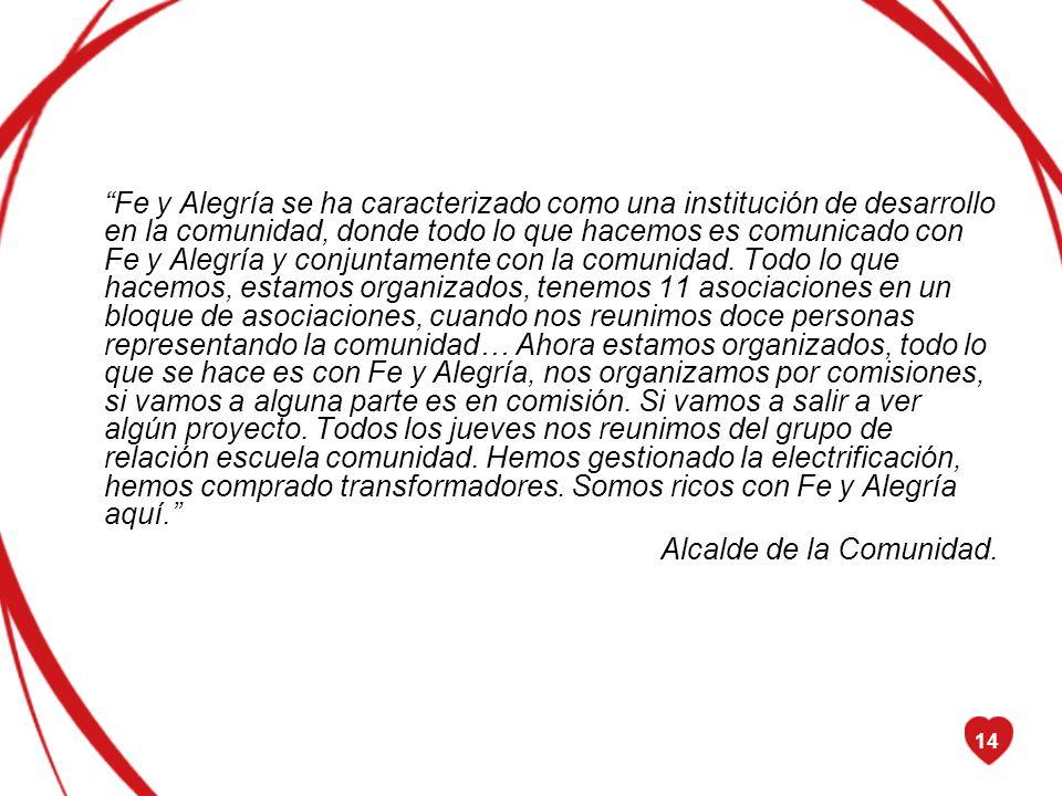14 Fe y Alegría se ha caracterizado como una institución de desarrollo en la comunidad, donde todo lo que hacemos es comunicado con Fe y Alegría y con