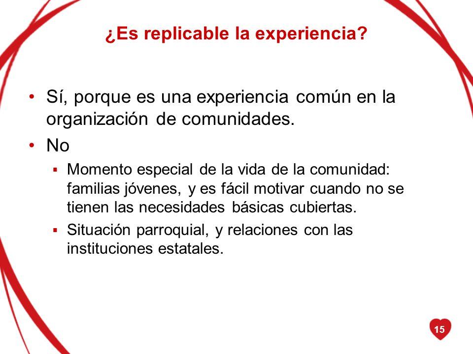 15 ¿Es replicable la experiencia? Sí, porque es una experiencia común en la organización de comunidades. No Momento especial de la vida de la comunida