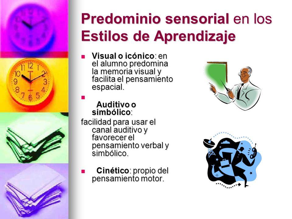 Predominio sensorial en los Estilos de Aprendizaje Visual o icónico: en el alumno predomina la memoria visual y facilita el pensamiento espacial. Visu