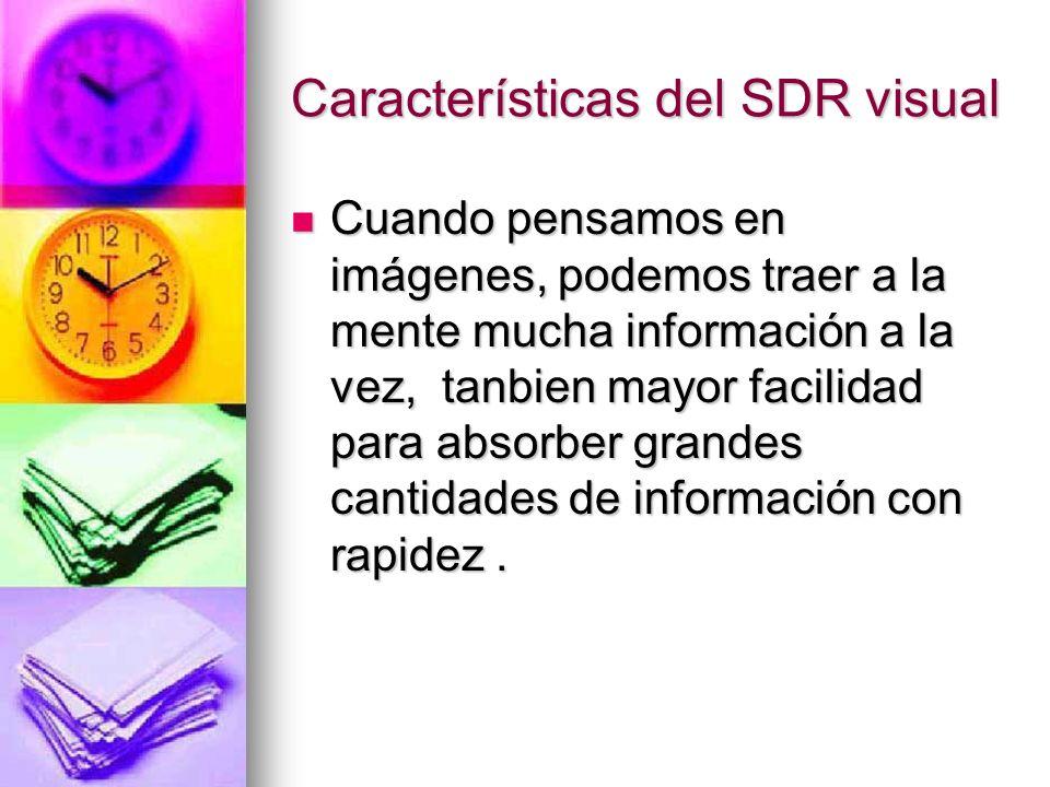 Características del SDR visual Cuando pensamos en imágenes, podemos traer a la mente mucha información a la vez, tanbien mayor facilidad para absorber