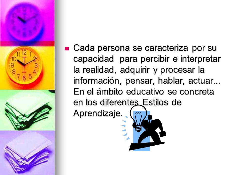 Cada persona se caracteriza por su capacidad para percibir e interpretar la realidad, adquirir y procesar la información, pensar, hablar, actuar... En