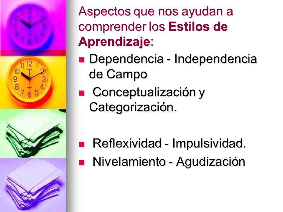 Aspectos que nos ayudan a comprender los Estilos de Aprendizaje: Dependencia - Independencia de Campo Dependencia - Independencia de Campo Conceptuali