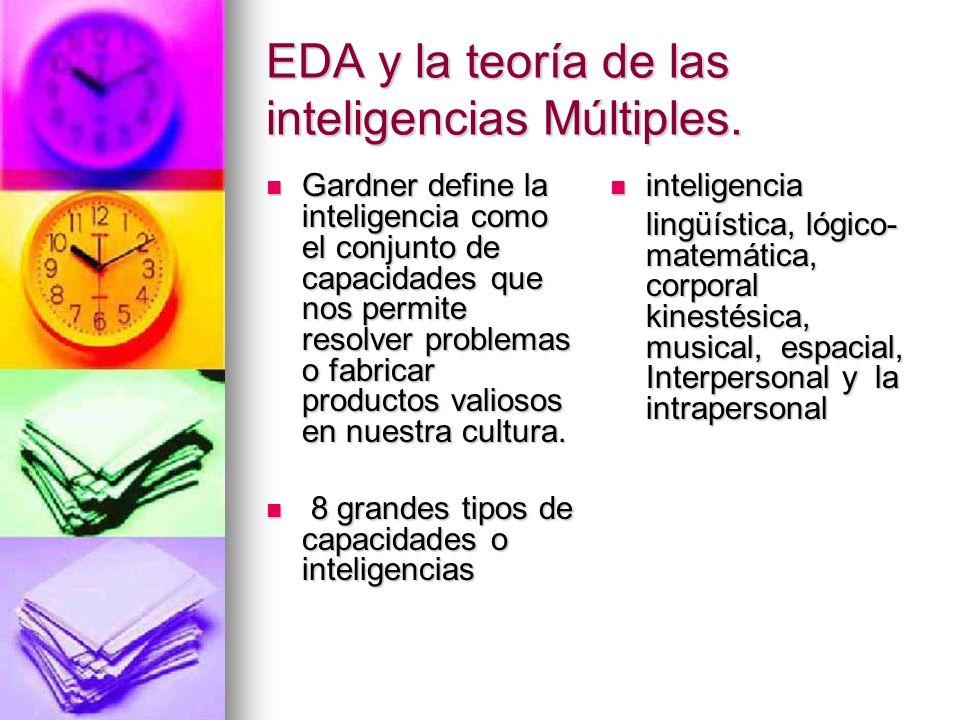 EDA y la teoría de las inteligencias Múltiples. Gardner define la inteligencia como el conjunto de capacidades que nos permite resolver problemas o fa