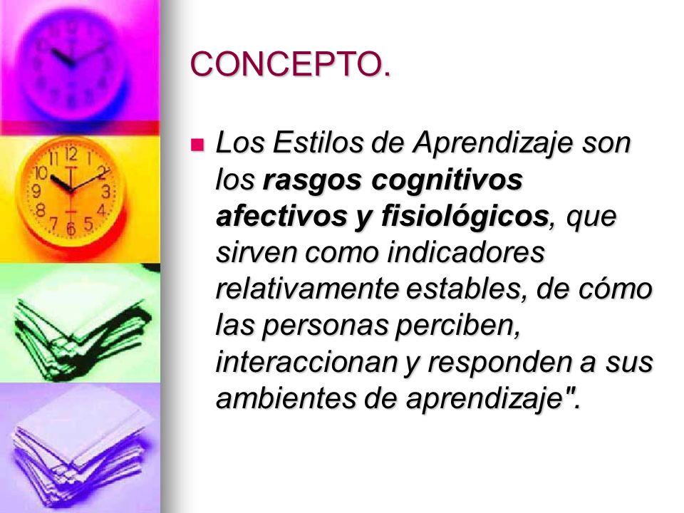 CONCEPTO. Los Estilos de Aprendizaje son los rasgos cognitivos afectivos y fisiológicos, que sirven como indicadores relativamente estables, de cómo l
