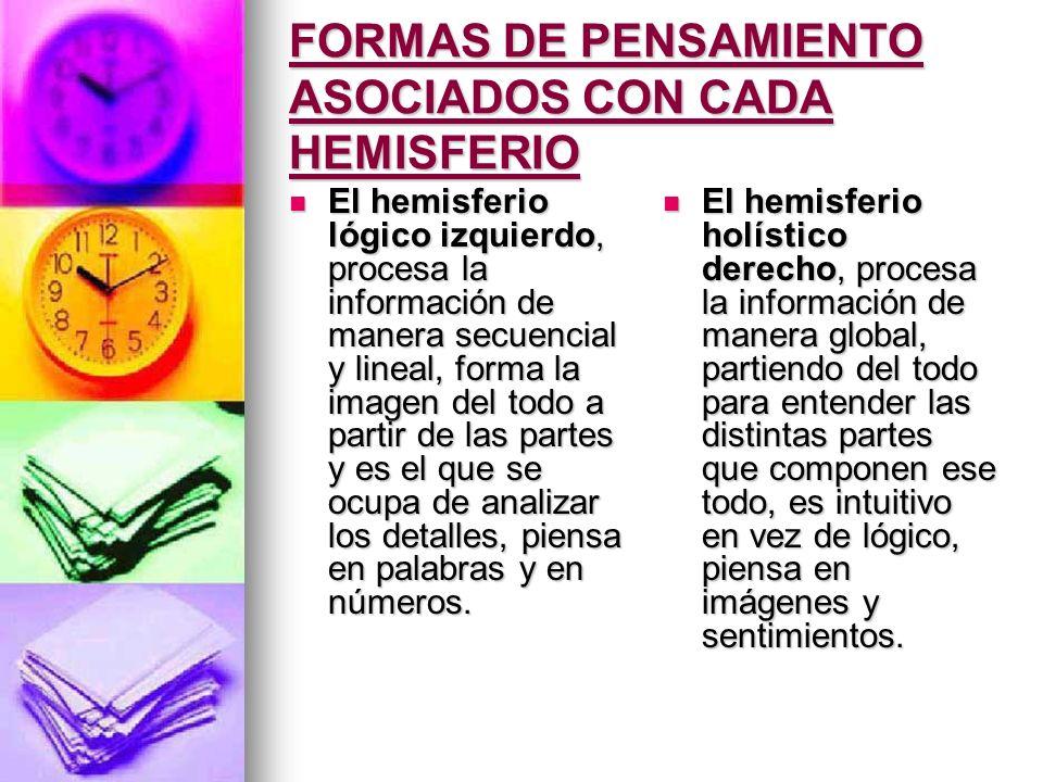FORMAS DE PENSAMIENTO ASOCIADOS CON CADA HEMISFERIO El hemisferio lógico izquierdo, procesa la información de manera secuencial y lineal, forma la ima