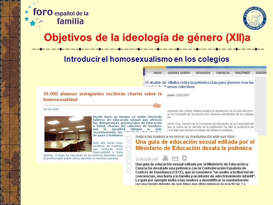 Objetivos de la ideología de género (XII)a Introducir el homosexualismo en los colegios