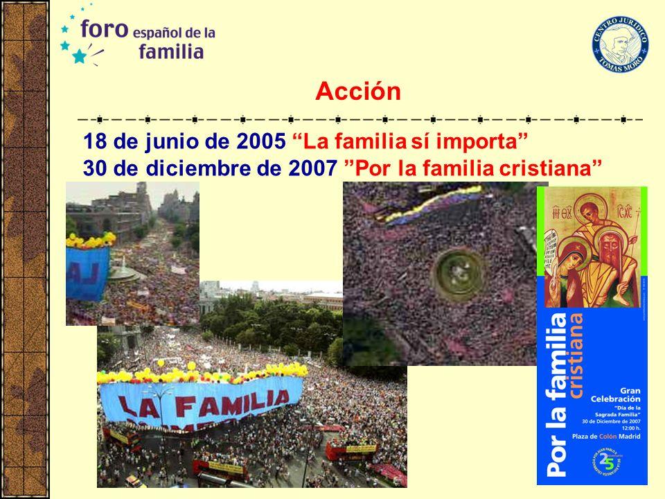 18 de junio de 2005 La familia sí importa 30 de diciembre de 2007 Por la familia cristiana Acción