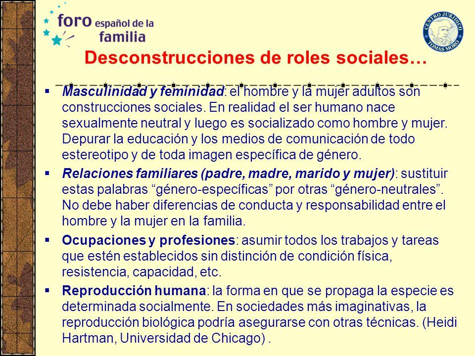 Desconstrucciones de roles sociales… Masculinidad y feminidad: el hombre y la mujer adultos son construcciones sociales. En realidad el ser humano nac