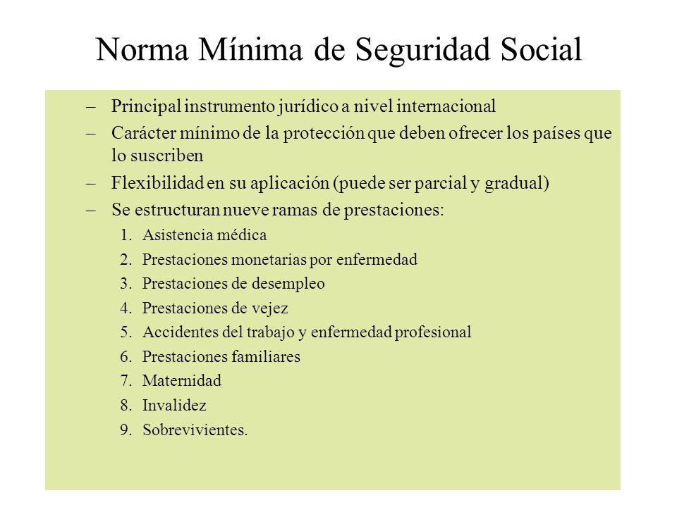 Norma Mínima de Seguridad Social –Principal instrumento jurídico a nivel internacional –Carácter mínimo de la protección que deben ofrecer los países