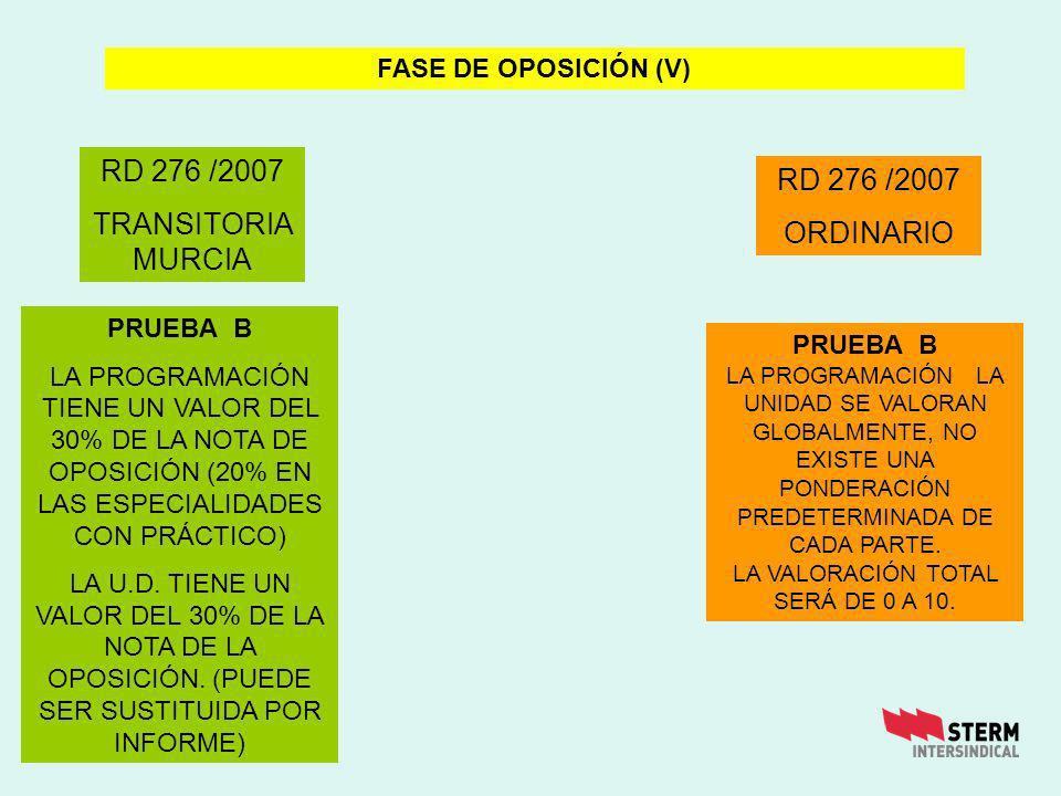 RD 276 /2007 ORDINARIO FASE DE OPOSICIÓN (V) RD 276 /2007 TRANSITORIA MURCIA PRUEBA B LA PROGRAMACIÓN TIENE UN VALOR DEL 30% DE LA NOTA DE OPOSICIÓN (20% EN LAS ESPECIALIDADES CON PRÁCTICO) LA U.D.