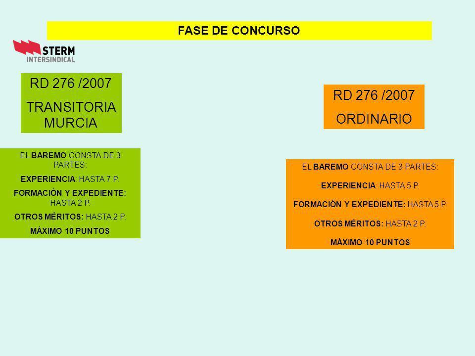 RD 276 /2007 ORDINARIO FASE DE CONCURSO RD 276 /2007 TRANSITORIA MURCIA EL BAREMO CONSTA DE 3 PARTES: EXPERIENCIA: HASTA 7 P.