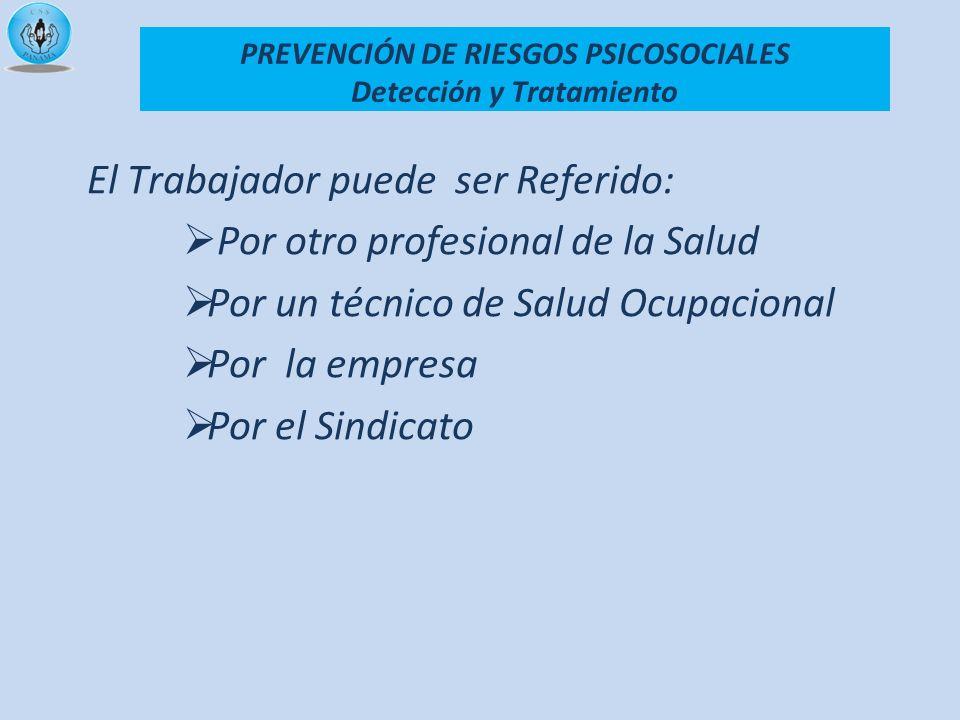 El Trabajador puede ser Referido: Por otro profesional de la Salud Por un técnico de Salud Ocupacional Por la empresa Por el Sindicato