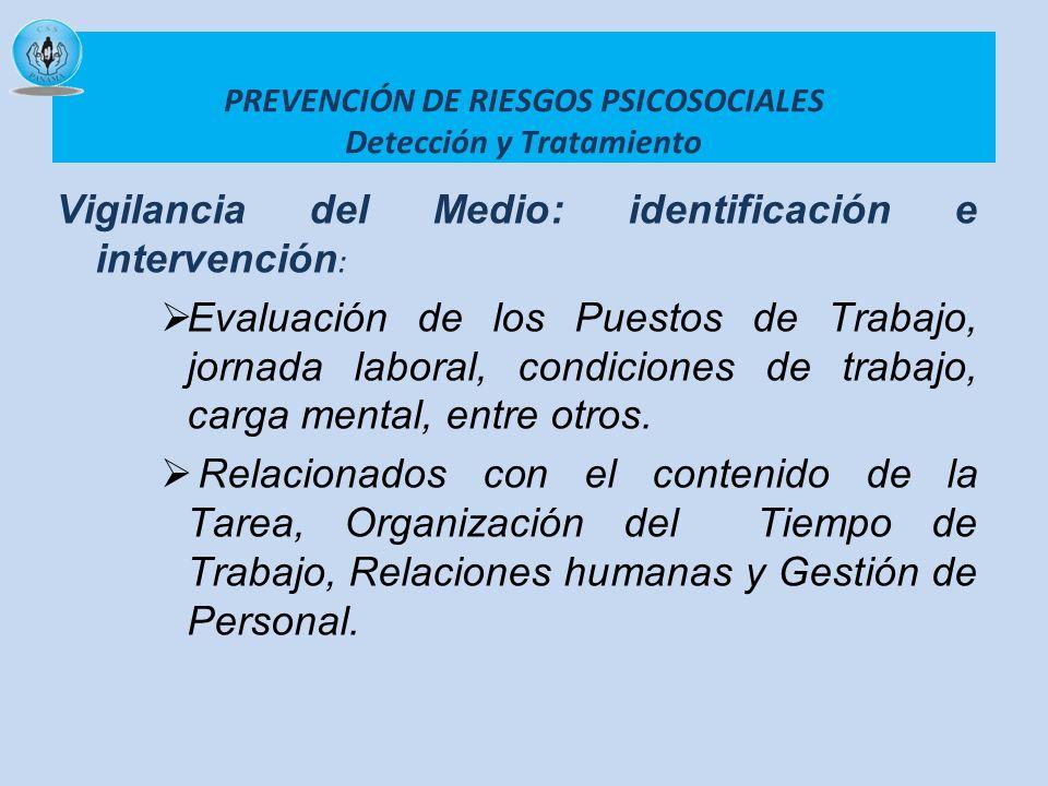 PREVENCIÓN DE RIESGOS PSICOSOCIALES Detección y Tratamiento Vigilancia del Medio: identificación e intervención : Evaluación de los Puestos de Trabajo
