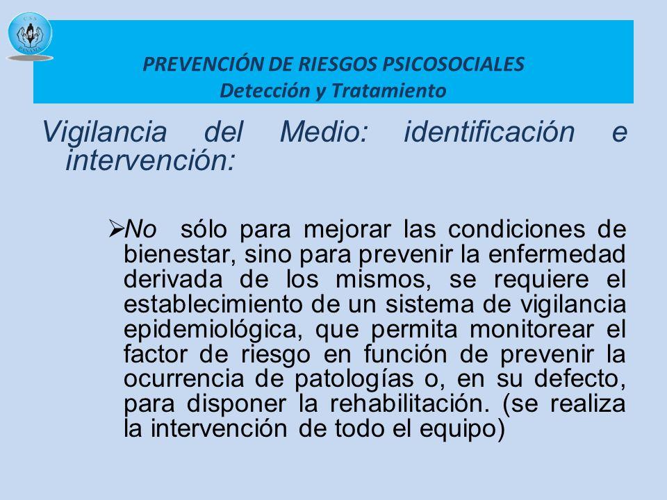 PREVENCIÓN DE RIESGOS PSICOSOCIALES Detección y Tratamiento Vigilancia del Medio: identificación e intervención: No sólo para mejorar las condiciones