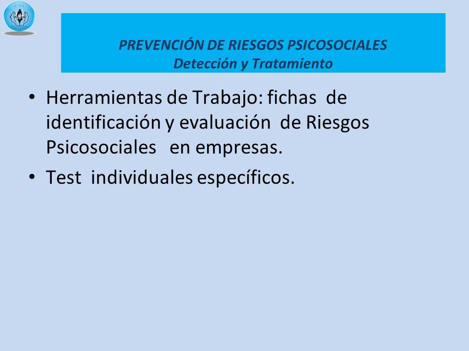 PREVENCIÓN DE RIESGOS PSICOSOCIALES Detección y Tratamiento Herramientas de Trabajo: fichas de identificación y evaluación de Riesgos Psicosociales en
