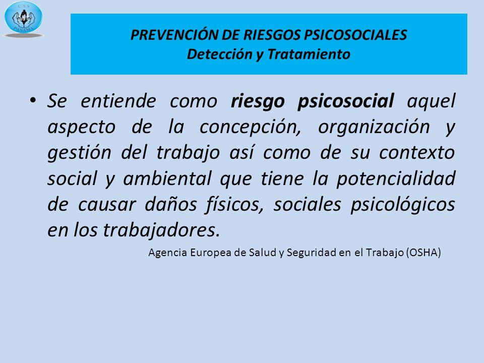 Se entiende como riesgo psicosocial aquel aspecto de la concepción, organización y gestión del trabajo así como de su contexto social y ambiental que