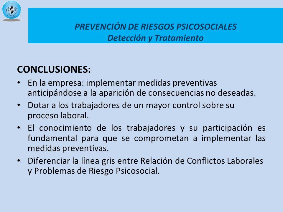 PREVENCIÓN DE RIESGOS PSICOSOCIALES Detección y Tratamiento CONCLUSIONES: En la empresa: implementar medidas preventivas anticipándose a la aparición
