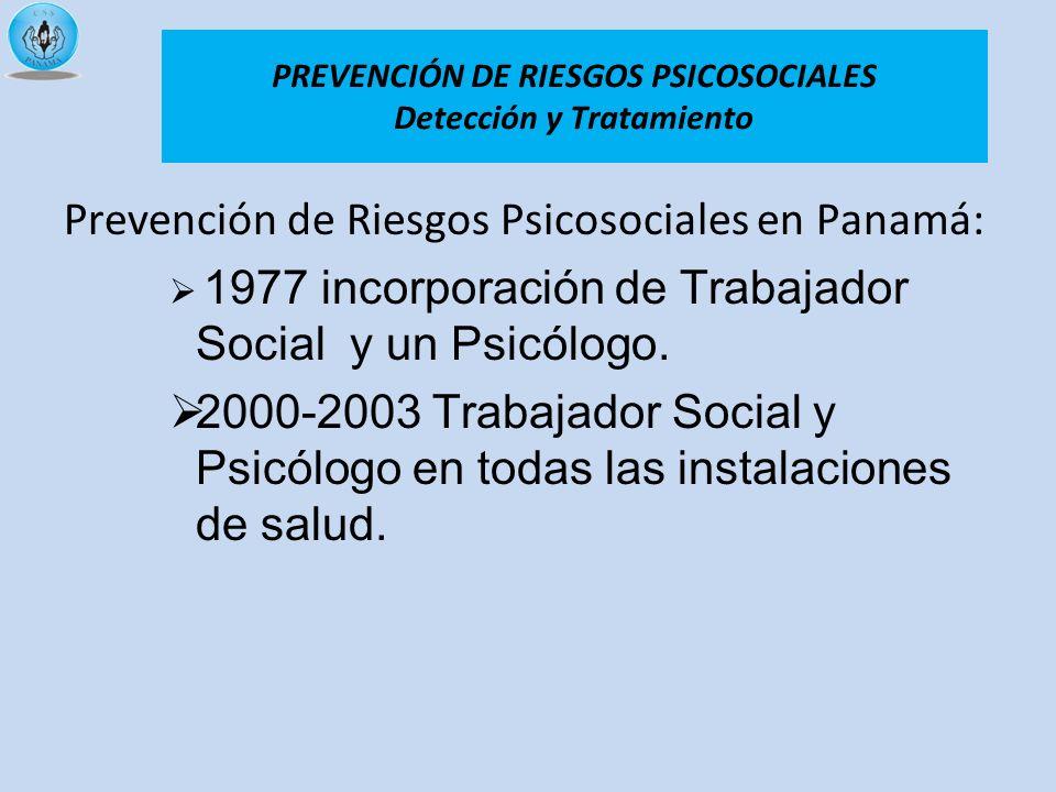 Prevención de Riesgos Psicosociales en Panamá: 1977 incorporación de Trabajador Social y un Psicólogo. 2000-2003 Trabajador Social y Psicólogo en toda