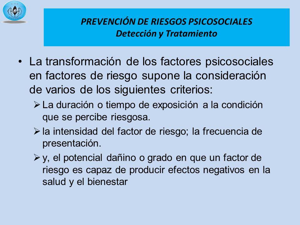 La transformación de los factores psicosociales en factores de riesgo supone la consideración de varios de los siguientes criterios: La duración o tie