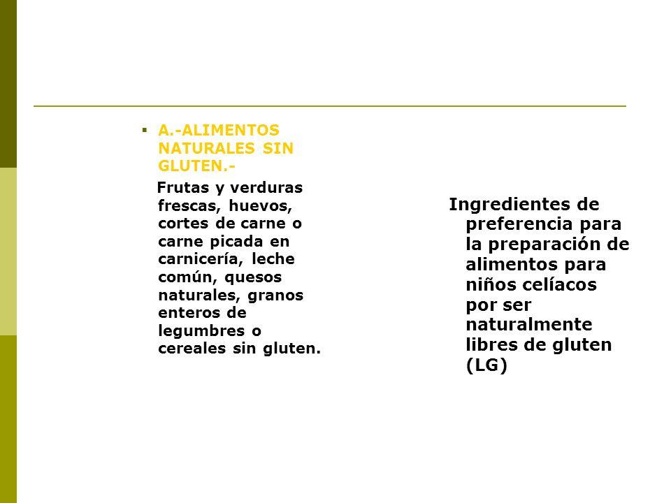 B.-ALIMENTOS MÍNIMAMENTE PROCESADOS.- Harina de maíz, harina de mandioca, harina de lentejas u otras legumbres, almidones de cereales que no contienen gluten, pasas de uva u otras frutas, aceitunas, duraznos u otras frutas en almíbar, frutos secos, aceites vegetales, vinagres y condimentos.