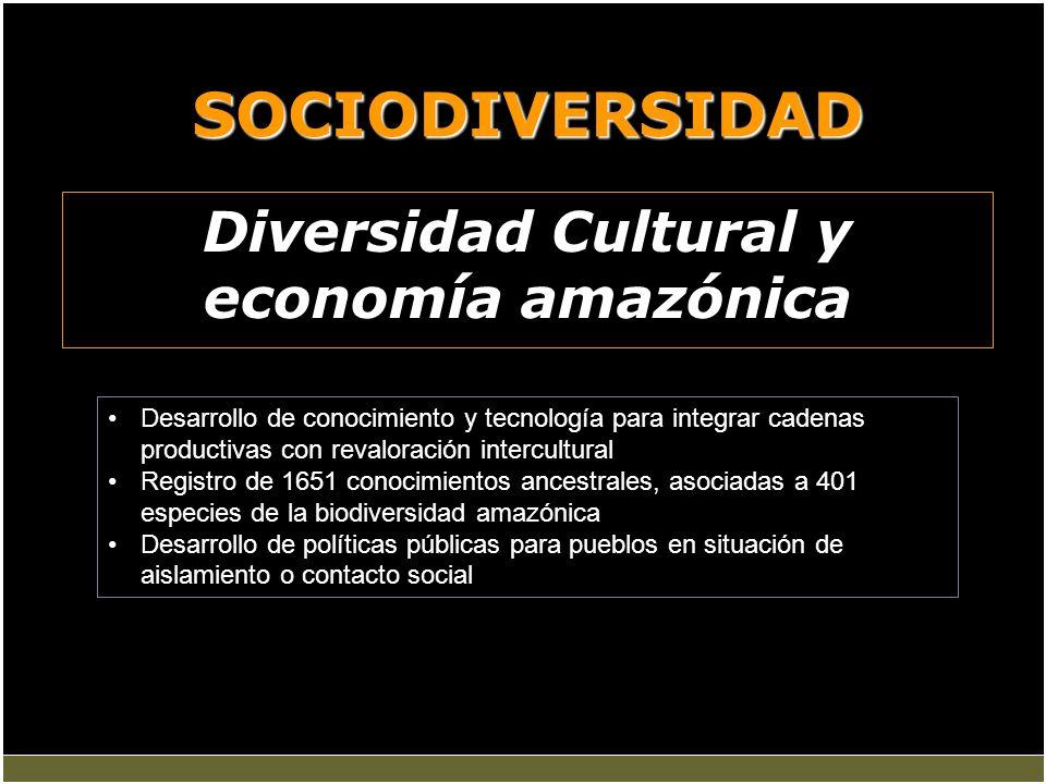 SOCIODIVERSIDAD Diversidad Cultural y economía amazónica Desarrollo de conocimiento y tecnología para integrar cadenas productivas con revaloración in