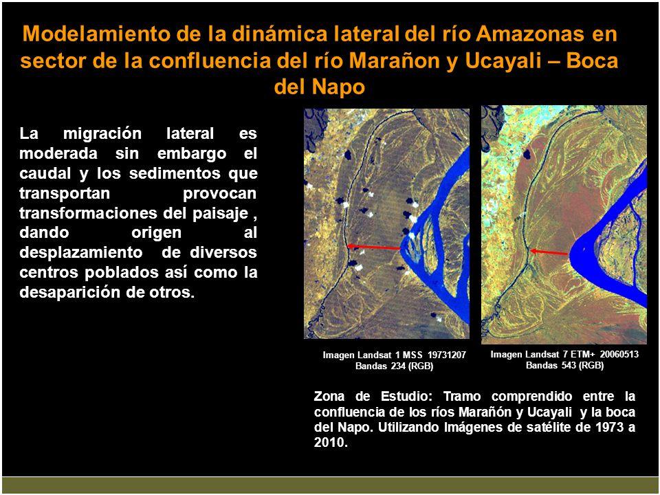 Modelamiento de la dinámica lateral del río Amazonas en sector de la confluencia del río Marañon y Ucayali – Boca del Napo La migración lateral es mod