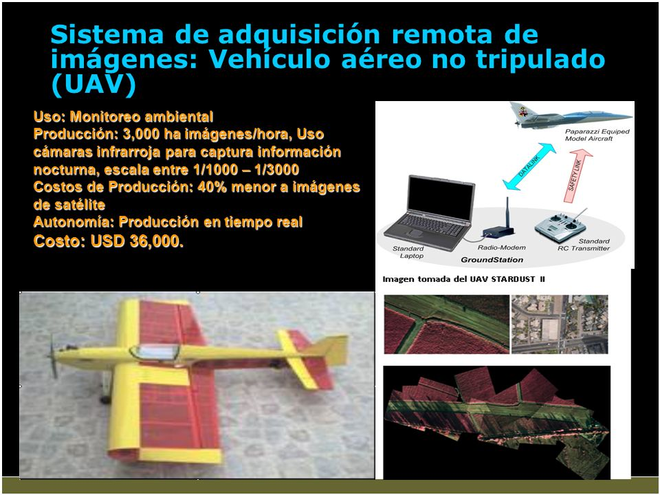 Sistema de adquisición remota de imágenes: Vehículo aéreo no tripulado (UAV) Uso: Monitoreo ambiental Producción: 3,000 ha imágenes/hora, Uso cámaras
