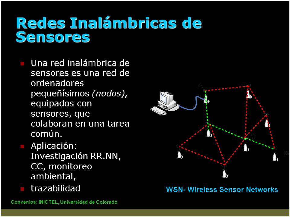 Redes Inalámbricas de Sensores Una red inalámbrica de sensores es una red de ordenadores pequeñísimos (nodos), equipados con sensores, que colaboran e