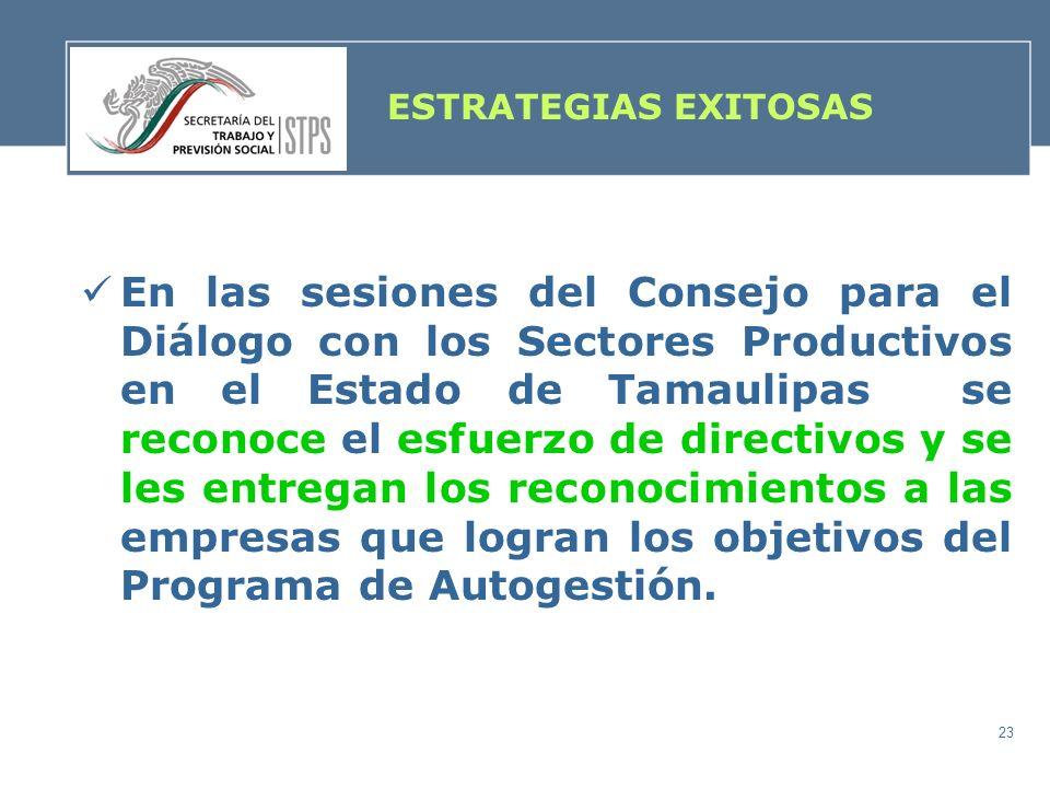 23 ESTRATEGIAS EXITOSAS En las sesiones del Consejo para el Diálogo con los Sectores Productivos en el Estado de Tamaulipas se reconoce el esfuerzo de