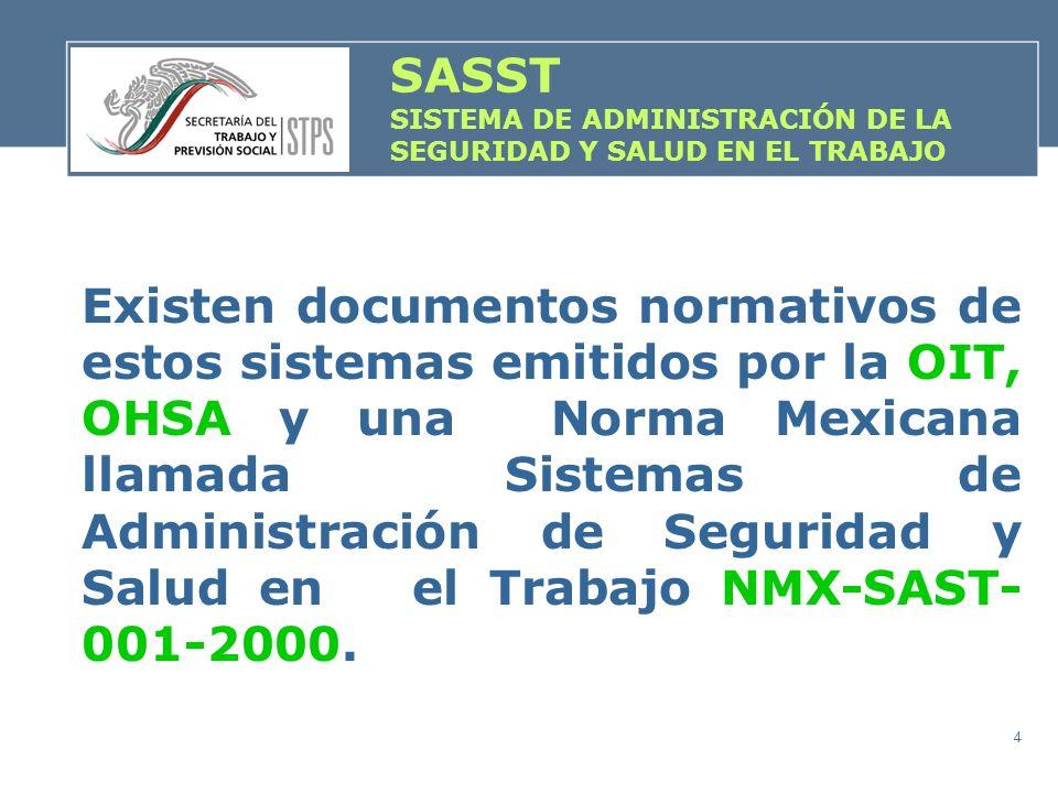 4 SASST SISTEMA DE ADMINISTRACIÓN DE LA SEGURIDAD Y SALUD EN EL TRABAJO Existen documentos normativos de estos sistemas emitidos por la OIT, OHSA y un