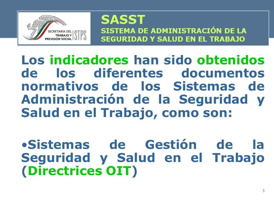 5 Los indicadores han sido obtenidos de los diferentes documentos normativos de los Sistemas de Administración de la Seguridad y Salud en el Trabajo,