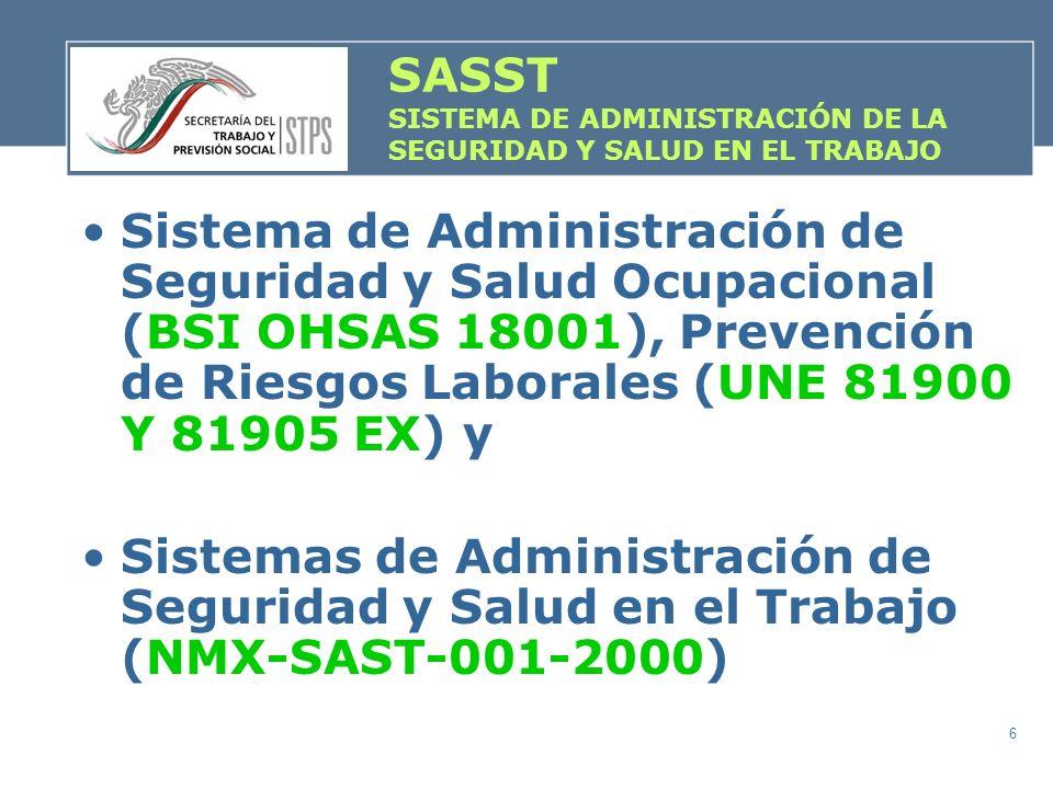 6 Sistema de Administración de Seguridad y Salud Ocupacional (BSI OHSAS 18001), Prevención de Riesgos Laborales (UNE 81900 Y 81905 EX) y Sistemas de A
