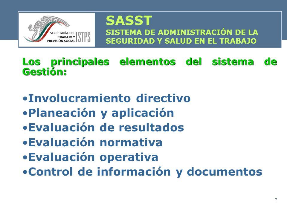 7 Los principales elementos del sistema de Gestión: Involucramiento directivo Planeación y aplicación Evaluación de resultados Evaluación normativa Ev