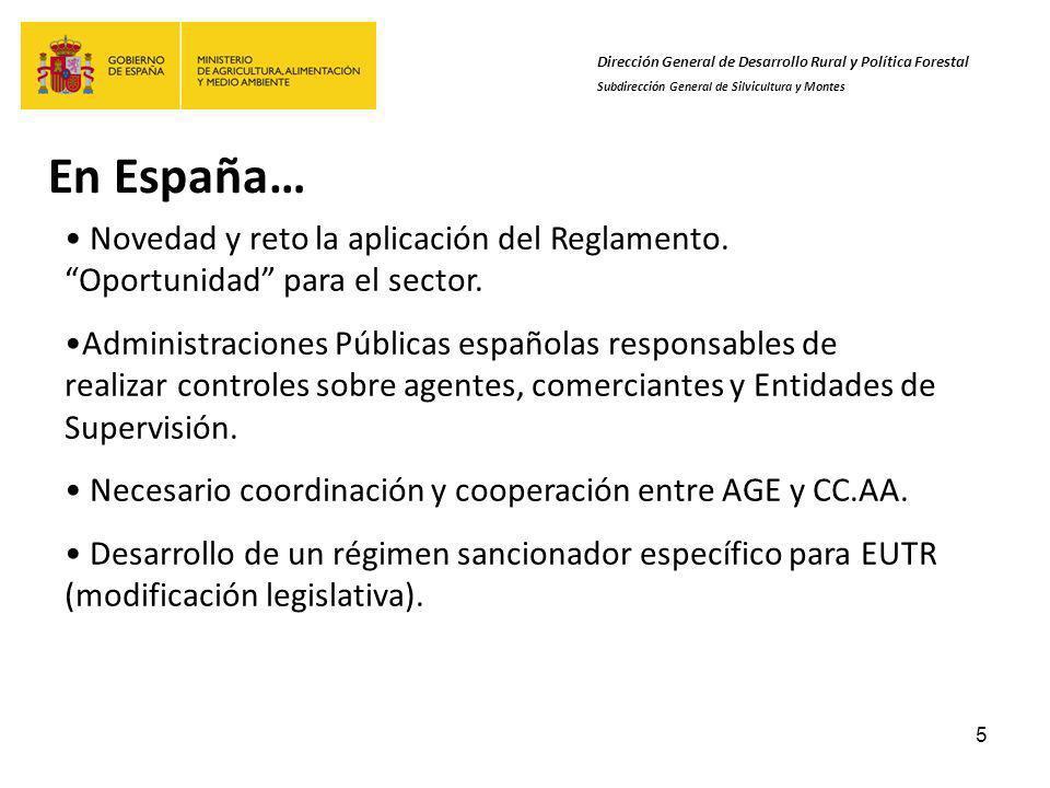 5 En España… Dirección General de Desarrollo Rural y Política Forestal Subdirección General de Silvicultura y Montes Novedad y reto la aplicación del Reglamento.