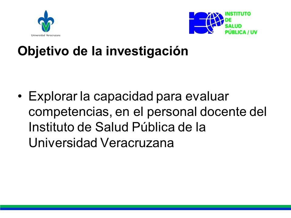 Objetivo de la investigación Explorar la capacidad para evaluar competencias, en el personal docente del Instituto de Salud Pública de la Universidad Veracruzana
