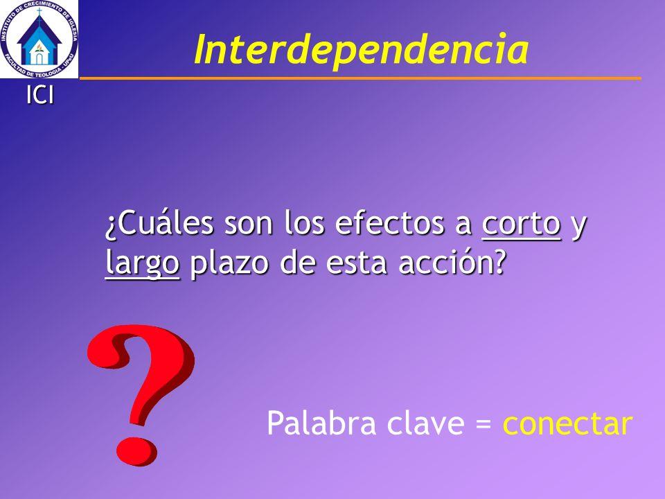 Interdependencia ¿Cuáles son los efectos a corto y largo plazo de esta acción? Palabra clave = conectar ICI