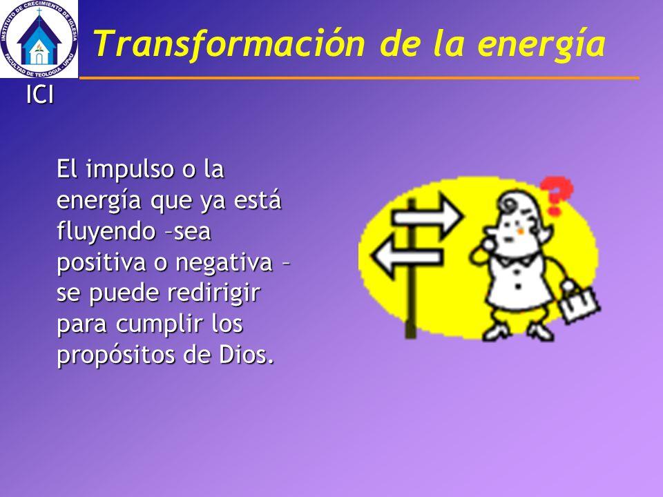 Transformación de la energía El impulso o la energía que ya está fluyendo –sea positiva o negativa – se puede redirigir para cumplir los propósitos de