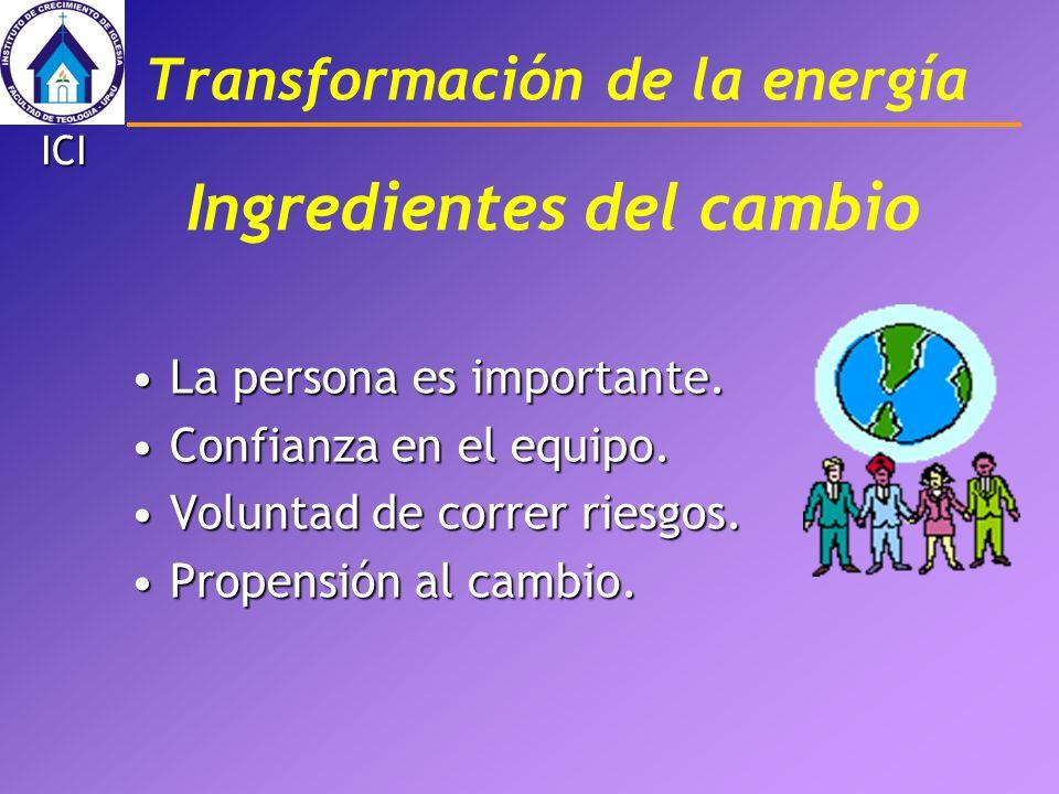 Transformación de la energía ICI Ingredientes del cambio La persona es importante.La persona es importante. Confianza en el equipo.Confianza en el equ