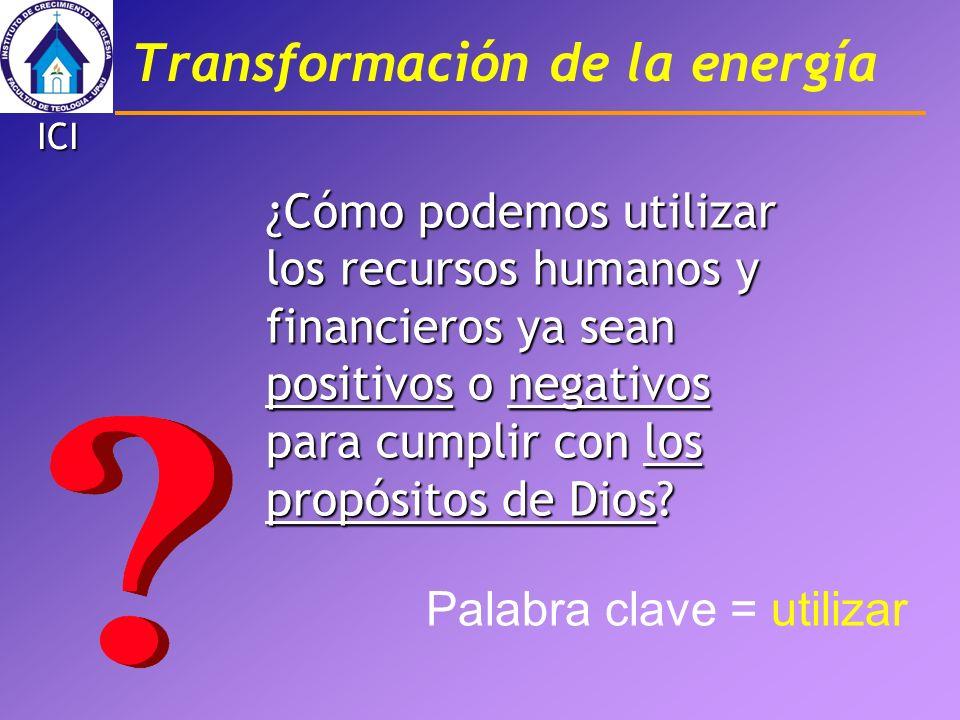 Transformación de la energía ¿Cómo podemos utilizar los recursos humanos y financieros ya sean positivos o negativos para cumplir con los propósitos d