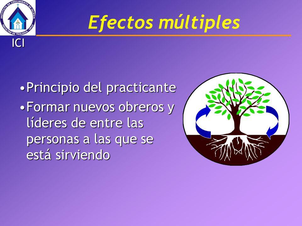Efectos múltiples Principio del practicantePrincipio del practicante Formar nuevos obreros y líderes de entre las personas a las que se está sirviendo