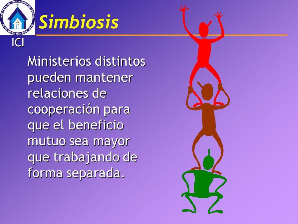 Simbiosis Ministerios distintos pueden mantener relaciones de cooperación para que el beneficio mutuo sea mayor que trabajando de forma separada. ICI
