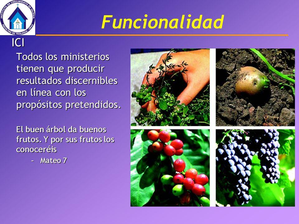 Funcionalidad Todos los ministerios tienen que producir resultados discernibles en línea con los propósitos pretendidos. El buen árbol da buenos fruto